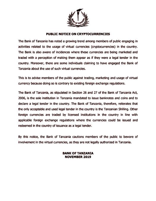 Bank-of-Tanzania-Public-Notice-on-cryptocurrency-and-forex-trading